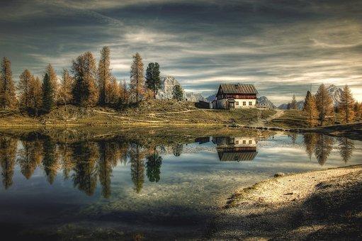 Pondok, Dolomites, Bergsee, Lago Federa