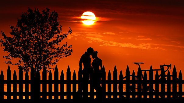 Sunset, Couple, Love, Romantic