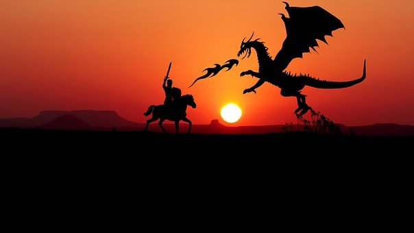 Sunset, Dragon, Knight, Combat, Monster