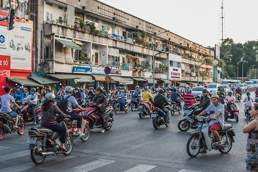 ベトナム, ホーチミン, サイゴン, 原付, ストリート, 道路, 多くの