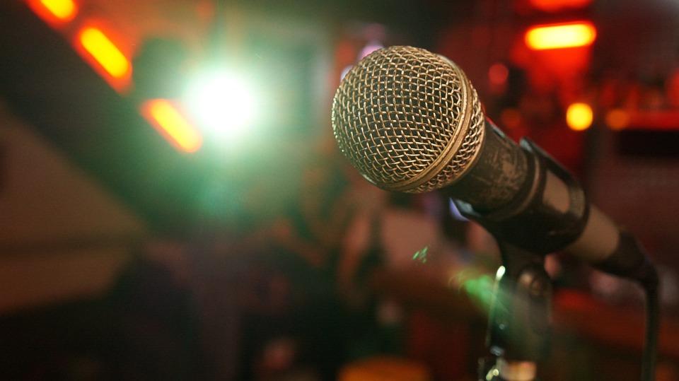 マイク, ステージ, 光, ショー, 音楽, サウンド, 歌う, アーティスト, スタジオ, コーナー