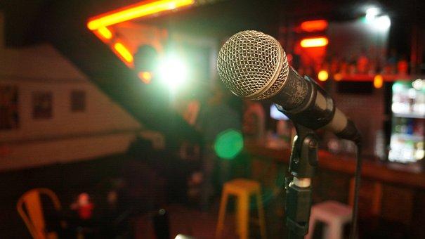 マイク, ステージ, 光, ショー, 音楽, サウンド, 歌う, アーティスト