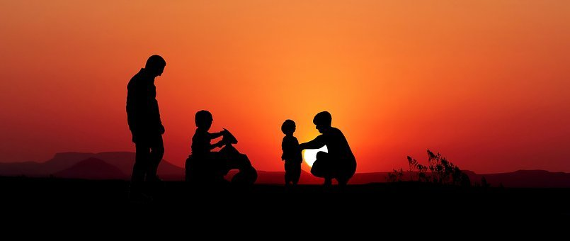 Sunset, Family, Game, Silhouette, Set