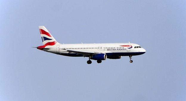 チラシ, 航空機, 着陸, 旅客機, ブリティッシュ ・ エアウェイズ, 空港