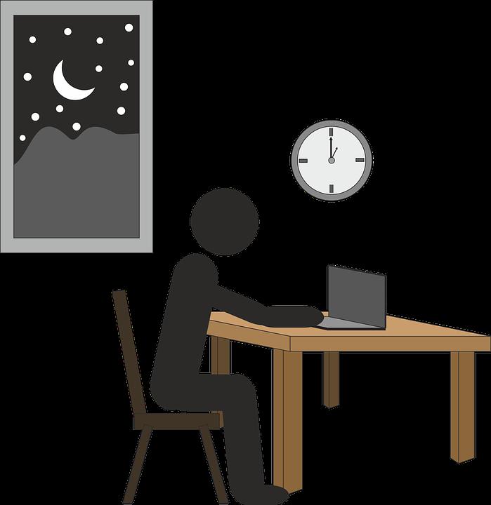 仕事, 時間とともに, 一夜, ストレス, ビジネス, 後半, オフィス, 期限, 忙しい, カウント ダウン