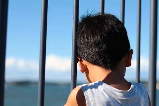後ろ姿, 男の子, 柵, 屋外, 子供, 男, 人, 人間, 悩み, 悩む