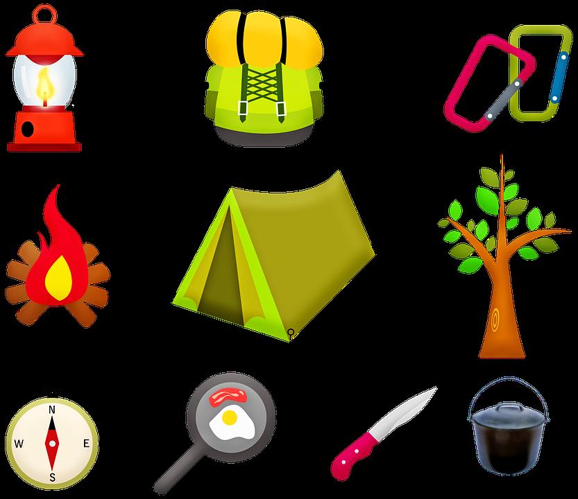 El Equipo De Camping, Tienda, Fuego, Árbol