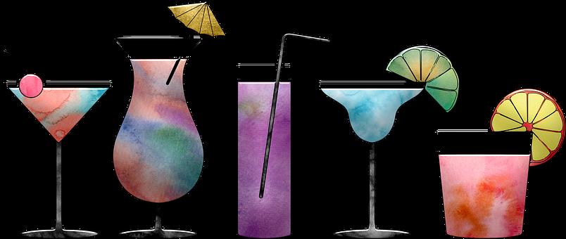 カクテル, 水彩画, カラフルです, ペイント, 祝賀会, アルコール, 塗装