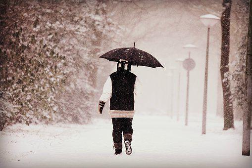 Person, Woman, Walking, Snow, Winter