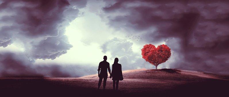 Heart, Tree, Couple, Love, Romance