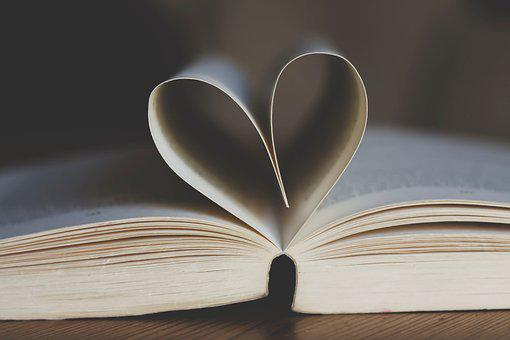 Book, Open, Book Pages, Heart Shape