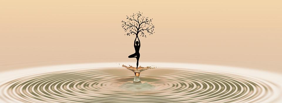 ダンス, ヨガ, 瞑想, 女性, フィットネス, 健康, 自然, 木, ドロップ水の, 注入する, 水, 点滴
