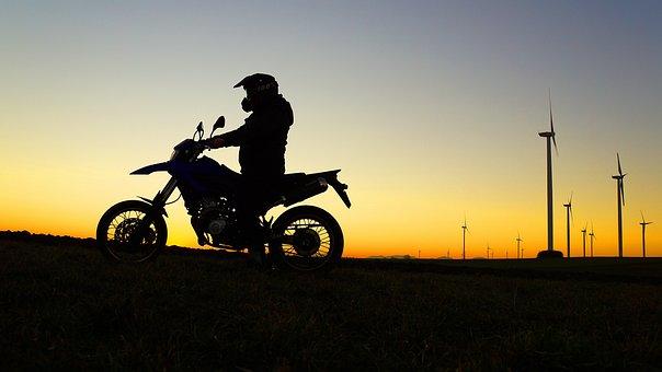 少年, 若い男, 自由, 幸せです, オートバイ, 夢, ターゲット, 太陽