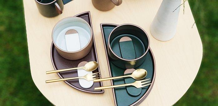 テーブルデコ, 食器, スプーン, フォーク, 優雅, テーブル, プレート