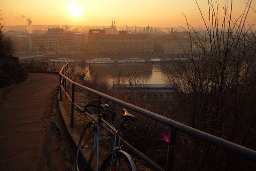 布拉格, 城市, 视图, 河, 圆, 早晨, 太阳
