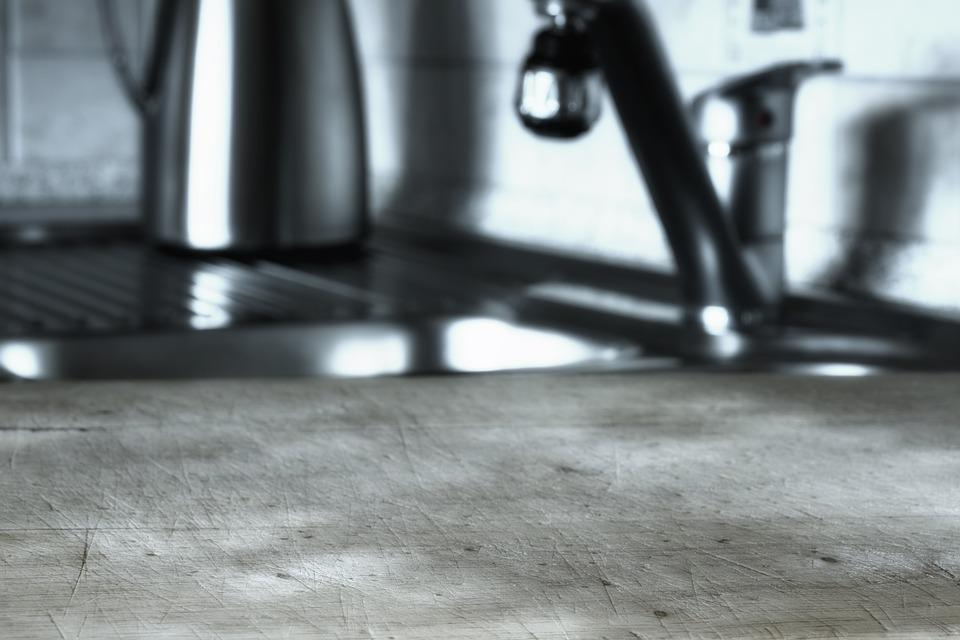 蛇口, キッチン, 浴室の流し, ステンレス鋼, 給湯器, クロム, カッティング ボード, 衛生, きれい