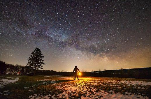 Milky Way, Night, Stars, Person, Man