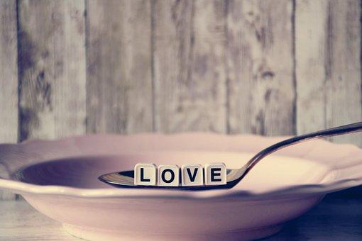 愛, プレート, スプーン, 部分, 文字, 中心部, スープ, 商, 部品