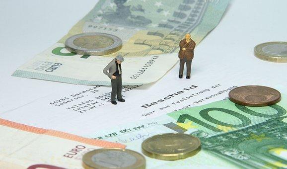 税理士事務所, 税評価, ミニチュアフィギュア, お金, ユーロ, 金融