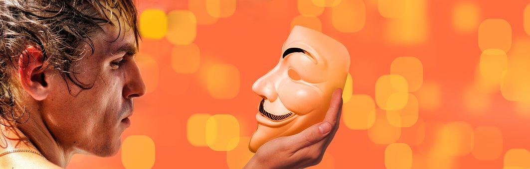 男, ビュー, マスク, 自己認識, 匿名, 知識, ミラー イメージ, 自己