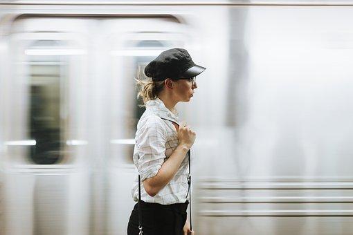 Woman, Girl, Train, Platform, Alone, Bag