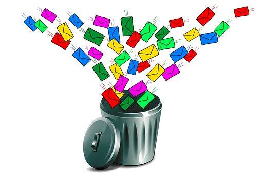 Email, Mailflut, E-Mai-Flut, Papierkorb