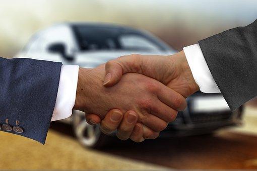 ハンドシェイク, Autokaufmann, 自動, 購入, 契約, バイヤー