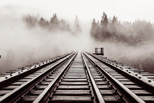 Railroad, Bridge, Old, Trestle, Haze