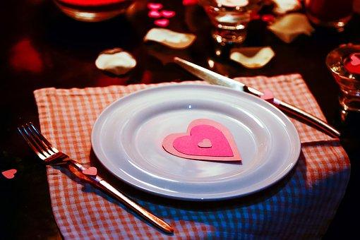 Фон, Сердце, Тарелка, Сервировка, Любовь