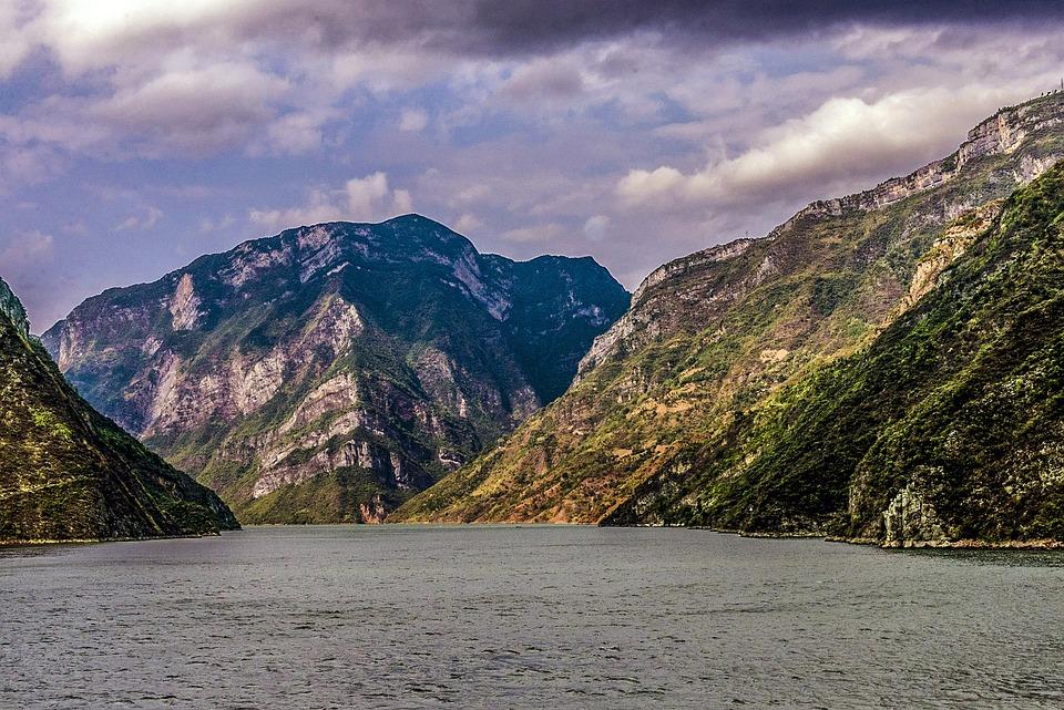 Jangcy, Rzeka, Chiny, Krajobraz, Górskie, Niebo, Chmury