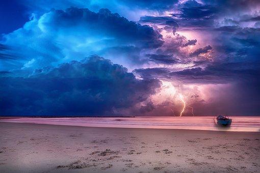 Laut, Langit, Awan, Badai, Ray, Barca