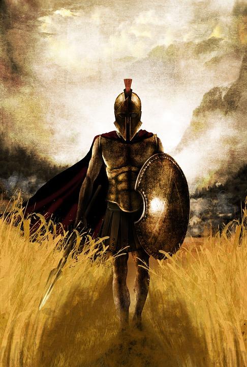 Spartan, Warrior, Shield, Armor, Sparta, Man, Helmet