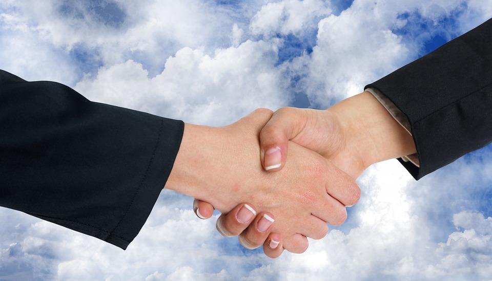 Handshake, Handen Schudden, Wolken, Samenwerking