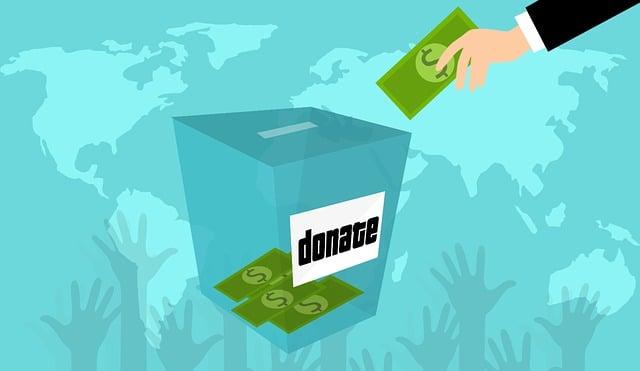 寄付, 慈善団体, ボックス, 手, ドル, 共有, 記号, 貢献, 貯蓄, 収集, 必要があります, 男性