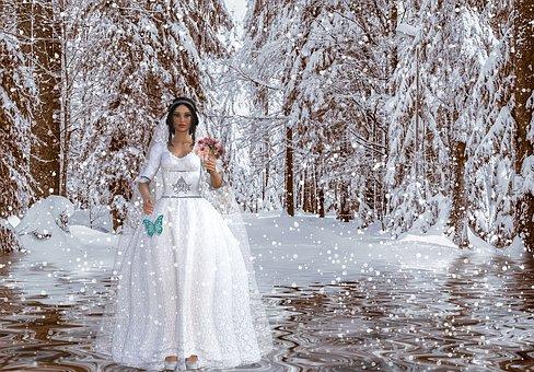 Pengantin, Pernikahan, Salju, Putih
