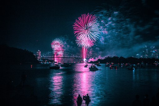 Fireworks, Harbour, Blue, Pink, Night