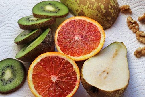 Obst, Kiwi, Mandarine, Birne, Frisch