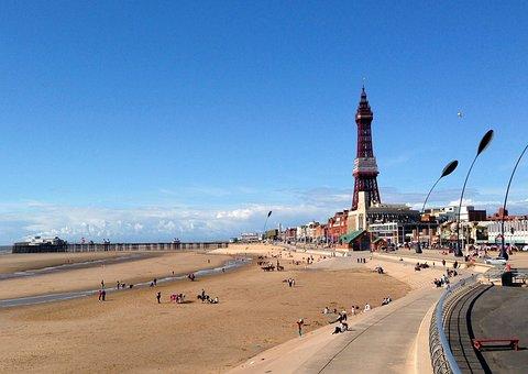 Blackpool, Tower, Seaside, Beach