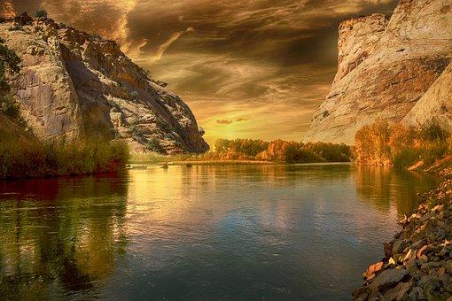 Lanskap, Danau, Gunung, Langit, Awan