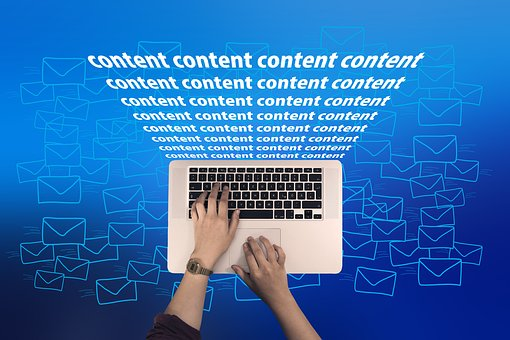 Content Content Content coming out of a laptop as part of online awareness creation 8: blogging