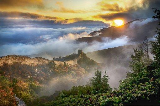 Lanskap, Cina, Dinding, Langit, Awan
