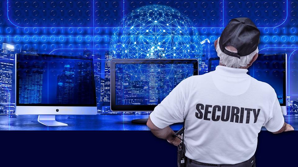セキュリティ, 男, モニター, バイナリ, バイナリ システム, コンピューター, バイナリ コード, 1