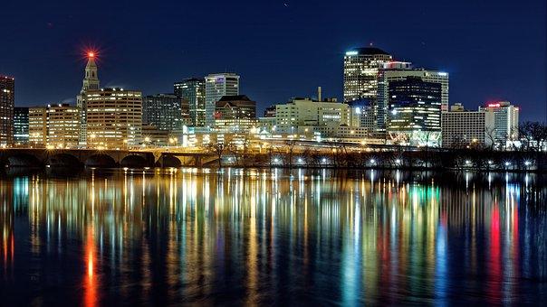 Night, City, Hartford, Connecticut