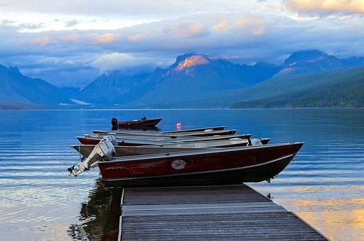 Rental Boats, Lake Mcdonald, Water, Lake