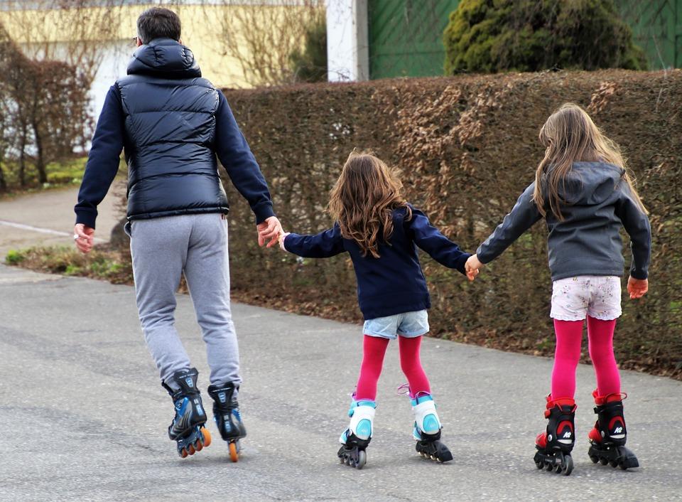 Rollschuhe, Kann, Zusammen, Entspannung, Spaß, Papa
