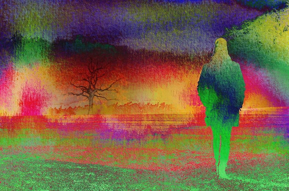 Aquarel, Silhouet, Vrouw, Boom, Landschap