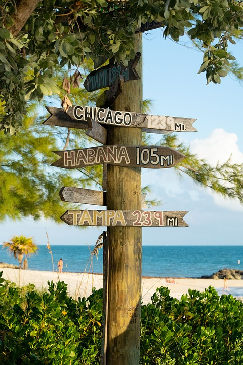 Tampa Florida - distance arrow. Top things to do