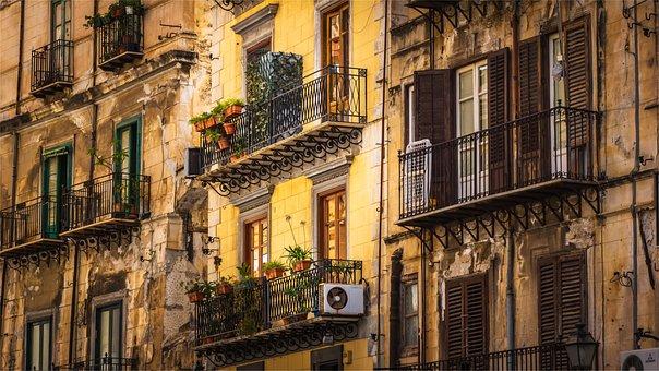 House Facade, Balconies, Shutters