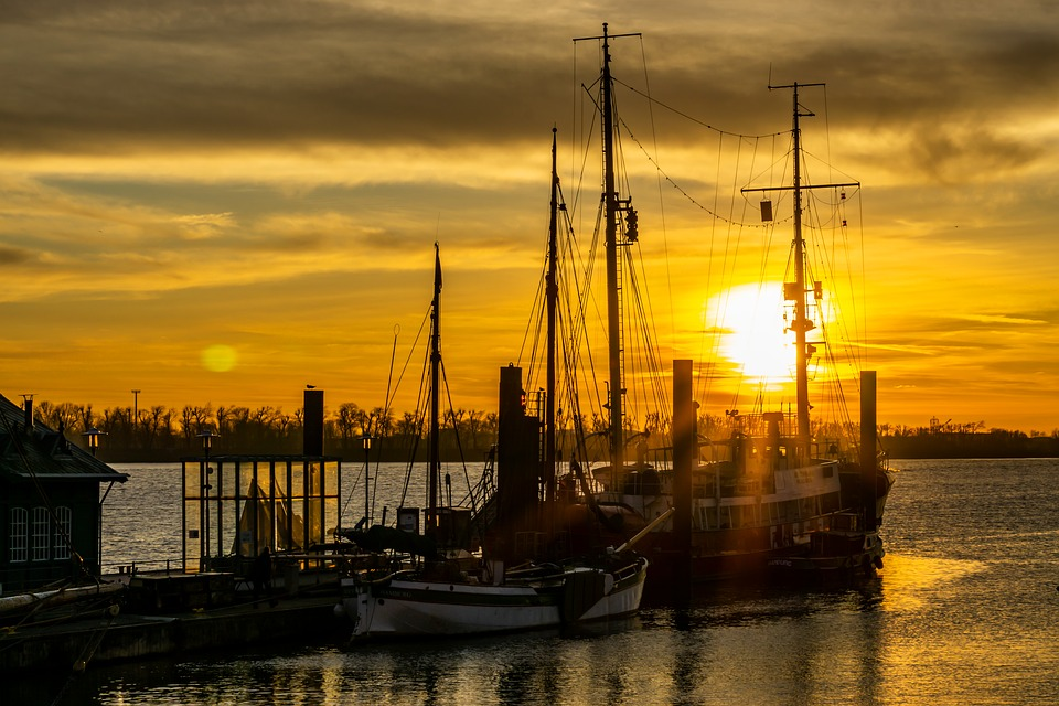 Hamburg, Elbe, Zachód Słońca, Port, Wody, Elbe Beach