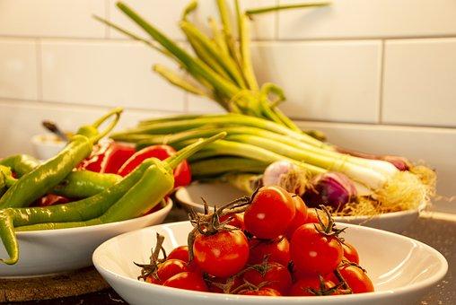 野菜, マット, ヘルシー, 食べる, トマト, グリーン, 新鮮, 赤